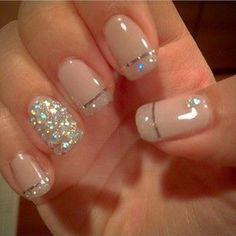 French tips are the most classic type of manicure, added with metallic lining makes them more beautiful.