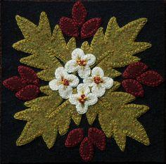 "Wool applique BOM PATTERN &/or KIT ""Desert Flower"" 6x6 block 1 of 24 ""Four Seasons of Flowers"" wool bed runner wall hanging table runner rug"