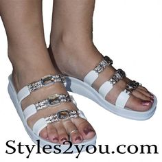 Three Strap Clear Crystal Slide Sandal In White