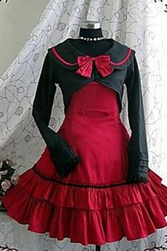 Ocrun Black And Red Cotton Long-sleeve Classic Lolita Dress On Line, ocrun.com