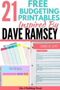budget printables organizing finances 21 Free Budgeting Printables inspired by Dave Ramsey! These printables are perfect for those that are looking to get a handle on their finances and start winning with their money! Budgeting Finances, Budgeting Tips, Budget Binder, Free Budget Planner, Monthly Budget Printable, Planner Ideas, Free Printables, Finance Organization, Coupon Organization