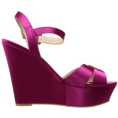 Nina Jinjer (Magenta Crystal Satin) Women's Wedge Shoes ($59) ❤ liked on Polyvore featuring shoes, sandals, platform shoes, high heel shoes, crystal sandals, peep toe platform sandals and wedges shoes