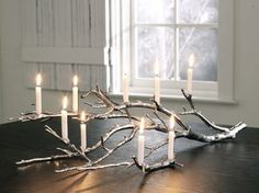 Manzanita Tree Branch Candelabra from West Elm Think we could DIY this Decoration Branches, Tree Branch Decor, Decoration Table, Tree Branches, Trees, Branch Art, Painted Branches, Wedding Decoration, Rama Seca