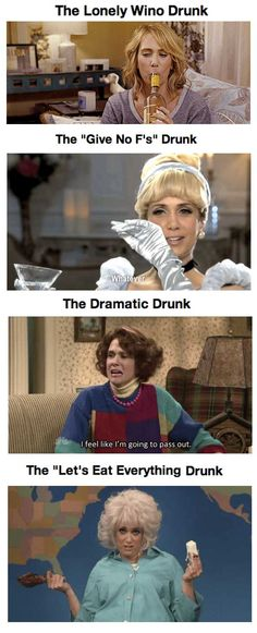 21 Drunk Personalities as Illustrated by Kristen Wiig.