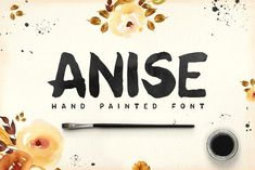 Anise - hand painted font and 4 watercolor textures Watercolor Texture, Watercolor And Ink, Watercolor Flowers, Paint Font, Hand Drawn Fonts, Hand Lettering, Types Of Lettering, Creative Sketches, Creative Fonts