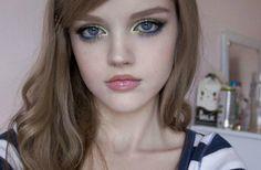 Dakota Rose.  Blue green eye liner.