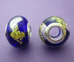 01ad4c555 New 14mm x 12mm Perlavita European Style Silver and Gold on Deep Blue Murano  Glass Rondelle Spacer Bead with 925 Sterling Silver Core Insert