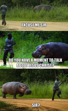Can't a hippo spread his religion? Funny meme but this was probably not funny to the guy being chased, haha. I hope hippos aren't fast... I also hope the guy with the camera did more than take pictures.
