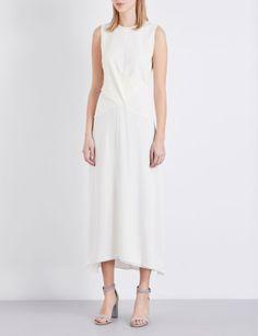 THEORY - Parthenia ponte-jersey dress | Selfridges.com Mid Length Dresses, White Dress, Spring Summer, Slim, Theory, June, Style, Wedding, Fashion