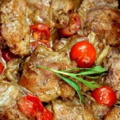 Braised Garlic Honey Mustard Chicken Thighs with Shallots and Tomatoes