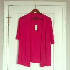 Express Overlay Sweater Express Hot Pink Overlay Sweater with 1/2 Length Sleeve Express Sweaters Shrugs & Ponchos