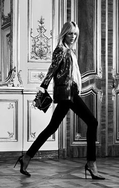 Anja Rubik photographed by Hedi Slimane for Saint Laurent Paris.