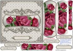 Burgundy Roses Panoramic Frame Pyramage on Craftsuprint designed by Sandie Burchell - Beautiful 6.5 inch Square Card with panoramic shaped pyramage with ornate frame. Apply to an 8 inch card blank to fit into a standard 8 inch square envelope, if desired. Sentiment Panels include: Happy Birthday, Especially For You!, Special Daughter, Special Sister or Blank for your own peel-off lettering or stamp. There is also a Matching Insert for this design please see related sheets. To see more of ...