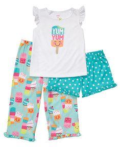 Carter's Baby Set, Baby Girls 3 Piece Print Sleepwear Set #icecream