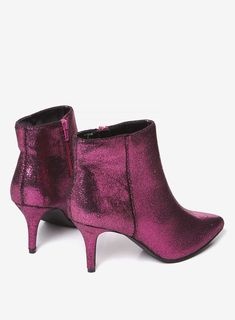 Pink 'Aruba' metallic kitten heeled boots with approximate heel height of Fabric. Heeled Boots, Ankle Boots, Kitten Heel Boots, Foot Locker, Booty, Pink, Shoes, Fashion, High Heel Boots