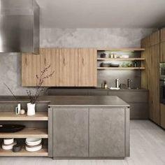 Кухня без ручек в стиле Лофт: бетон, светлое дерево