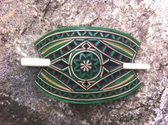 Mini green carved leather hair barrette - hair accessories - geometric hair barrette - pony tail holder Buy Clothes Online, Hair Barrettes, Hair Clips, Hair Sticks, Leather Tooling, Leather Art, Pretty And Cute, Handmade Items, Etsy Handmade