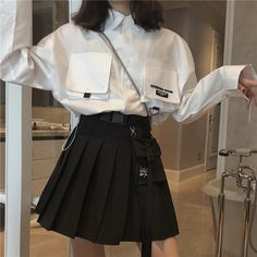 Sakurada Kawashima chic Korean version of the wild summer port high waist pleated was thin large pocket A word half skirt short skirt female - Taobao Egirl Fashion, Korean Girl Fashion, Korean Street Fashion, Ulzzang Fashion, Kawaii Fashion, Cute Fashion, Fashion Outfits, Ulzzang Style, Modest Fashion