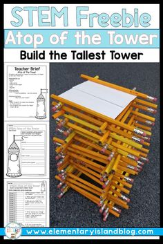 Looking for a free STEM activity for the elementary classroom? Teachers are lov… Looking for a free STEM activity for the elementary classroom? Teachers are loving STEM because it's fun, hands-on, and engaging. The challenges are great for team building. Stem Science, Science Games, Science Fair, Math Games, 4th Grade Science, Forensic Science, Earth Science, Life Science, Stem Projects