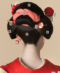 日本髪::::how to adorn traditional Japanese hair part2 :::::::  4.かのこ:曲げに絡げ、後ろ姿を飾ります。  5.前櫛・平打ちセット:前髪と髷の根に挿します。  6.玉かんざし:平打ちかんざしと対称に水平に挿します。