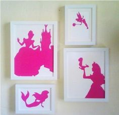 Google any silhouette, print out on colored paper, cut them out and place in a frame.