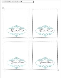free place card template blue