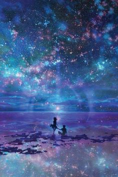 Anime Galaxy, Galaxy Art, Fantasy Kunst, Fantasy Art, Art Galaxie, Ciel Nocturne, Fantasy Landscape, Landscape Art, Anime Scenery