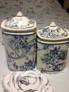 222 FIFTH ADELAIDE BLUE *2 PC* CANISTER SET LG/MD/ NEW #222Fifth