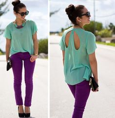 love this outfit-purple jeans with flowy on trend mint top, but would swap heels out for flats