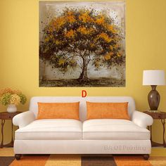 Hecho a mano Pintura Al Óleo Sobre Lienzo Árbol Flor Roja Pintura Al Óleo Abstracta Moderna de la Lona Wall Art Living Room Decor Imagen