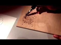 Pyrography, using a Dremel 2000 Versatip. Outlined of letter roughed in. Wood burn letters - YouTube