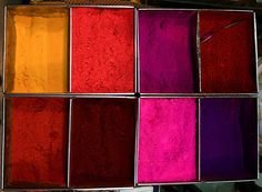 Dyes for sale  On a market stall in Tamil Nadu, India.
