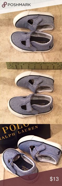 NWOB Polo T Strap Shoes FIRM Denim color Polo T strap shoes with navy Polo emblem on back. Padded collar for comfort. Brand new without box. Never even tried on. Polo by Ralph Lauren Shoes