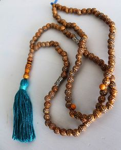 "Mystic Bead Turquoise Yoga Necklace Mala Yoga Tassel Necklace Wooden Bead Necklace Meditation Prayer Beads Wooden Beadwork 33"" Loop"