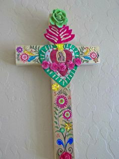 Our Lady of Guadalupe Tin Sacred Heart. Mexican Art. Wooden Cross Mexican Wall Art.