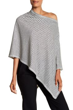Striped Asymmetrical Linen Blend Poncho by Eileen Fisher on @nordstrom_rack