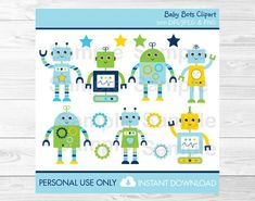 Robot Clipart / Baby Bot Clipart / PERSONAL by LittlePrintsParties