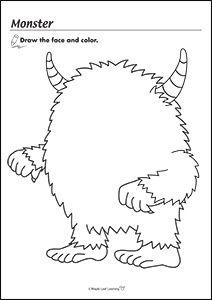 Monster Worksheet Drawing For Kids, Art For Kids, Crafts For Kids, Drawing Activities, Preschool Activities, Colouring Pages, Coloring Sheets, Art Worksheets, Halloween Worksheets
