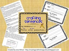 Crafting Sentences - helping first graders write a sentence