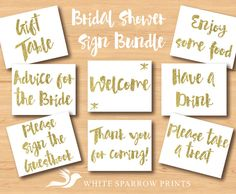 Gold Bridal Shower Signs. VALUE BUNDLE. Bridal Shower Decorations. Gold Bridal Shower. Welcome, drink sign, food sign, thank you for coming