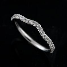 Curved Wedding Band Diamond Ring Slightly Contour Women S Micro Pave 14k Gold 1 7mm