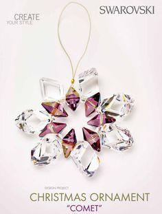 DIY swarovski crystal comet ornament free design and instructions Swarovski Christmas Ornaments, Beaded Ornaments, Christmas Jewelry, Xmas Ornaments, Handmade Christmas, Christmas Crafts, Christmas Tree, Christmas Vacation, Christmas Balls