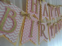 Pink and Gold Happy Birthday Banner Birthday by SugaryDreamShoppe