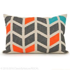 12x18 inches lumbar decorative pillow cover | Handprinted chevron pattern in dark gray, orange, turquoise on your choice of fabric | Geometric and graphic design