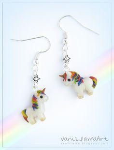 Polymer clay unicorns earrings :) by VaniLlamaArt #handmade #polymerclay #unicorn