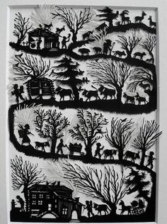 A single sheet of paper tells a story without words: scherenschnitte (paper cutting genius) Kirigami, Paper Cutting, Cut Paper, Paper Cut Design, Scandinavian Folk Art, Paper Magic, Wall Drawing, Shadow Puppets, Paper Artwork