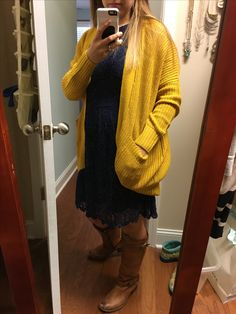 This is me too, trying on a potential outfit for our family pics. I love this sweater and my Frye boots! I ended up taking the dress back because the lace was a little much, but I LOVE the color combo.