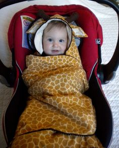 Carseat Blanket with Giraffe Hoodie for Infant by CarSeatCuddles, $55.00