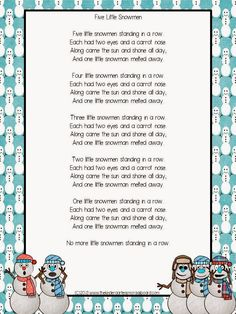 Five Little Snowmen poem! Perfect for a snow or winter theme. Poems are great for building reading fluency in kindergarten!