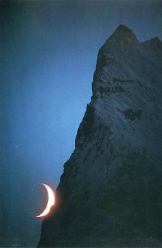 moon behind the mountain